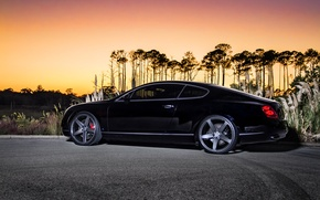 Картинка черный, купе, Bentley, Continental GT, black, бентли, континентал