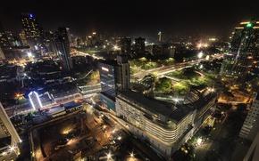 Картинка ночь, огни, дома, Индонезия, вид сверху, улицы, Jakarta