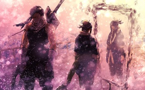Картинка зима, снег, оружие, меч, зеркало, наруто, герои, Naruto, летящий, Mirror silence