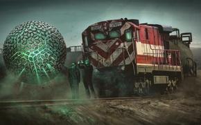 Картинка шар, поезд, арт, локомотив, сфера, Nick Foreman