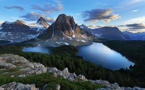Картинка лес, горы, камни, озёра