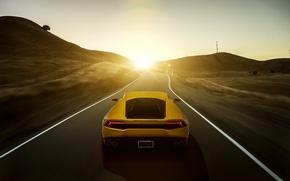 Картинка Lamborghini, yellow, sunset, rear, LP 610-4, Huracan, LB724