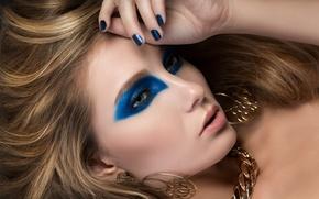 Картинка взгляд, девушка, стиль, серьги, макияж