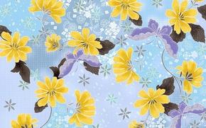 Картинка листья, бабочки, цветы