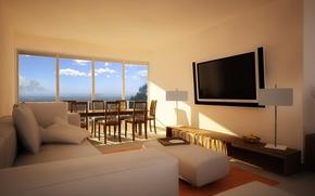 Картинка interior, design. house, beige living room
