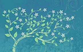 Обои листья, цветы, фон, цветочки