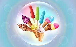 Обои мороженое, сладости, рожок, нежно, пузыри, вафли, ваниль, крем, шоколад, пломбир, замороженый сок