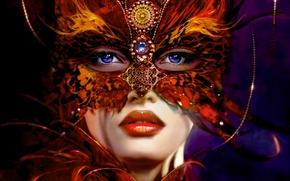 Картинка украшения, Девушка, маска, перья синие глаза