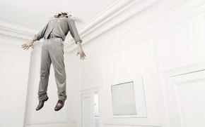 Обои комната, рендеринг, потолок, мужик