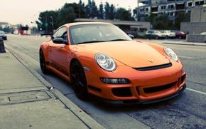 Обои фото, стоянка, парковка, Orange, gt3, porshe, cars, auto, wallpapers, parking, сity, Photography, porshe gt3 rs