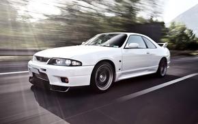 Обои Белая, Красивая, Скайлайн, White, Ниссан, Обоя, Автомобиль, Automobile, Car, Japan, Машина, р33, Nissan Skyline, R33, ...