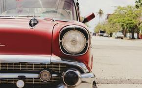 Картинка car, ретро, фотография, Машина, автомобиль, красная, chevrolet, cars, шевролет, старый стиль