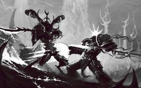 Картинка терминатор, демон, хаос, схватка, warhammer 40k, серые рыцари