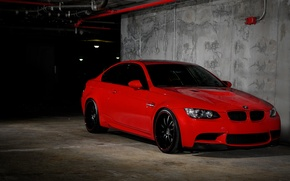 Картинка красный, бмв, BMW, парковка, red, E92, передняя часть
