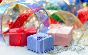 Обои синий, красный, ленты, розовый, праздник, подарок, голубой, обои, блеск, новый год, блестки, лента, подарки, ленточка, ...