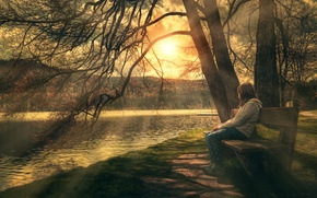 Картинка дерево, берег, обработка, девочка, Relax, скамья, Enjoy