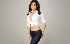 Картинка girl, sexy, Sunny Leone, cleavage, eyes, smile, beautiful, figure, model, pretty, beauty, lips, hair, brunette, …