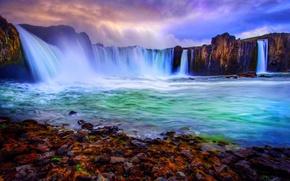 Картинка Landscape, rocks, stones, Waterfall
