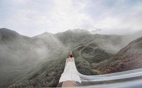 Картинка девушка, холмы, платье, невеста