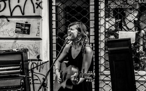 Обои singing, music, singer, musician, piano, stage, guitar street stage, urban scene