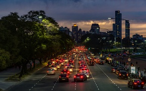 Картинка twilight, cars, Argentina, night, rush, people, dusk, traffic, skyscrapers, cityscape, Buenos Aires, everyday life, urban ...