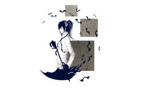 Картинка зонт, хвост, белый фон, перчатки, Парень, летучие мыши, усмешка