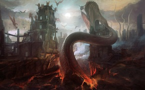 Картинка город, фантастика, арт, монстры, разрушение, руины, демоны, by PeteAmachree, Demon Prince