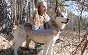 Картинка лес, девушка, природа, собака, хаски, урал