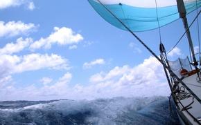 Картинка море, волны, небо, облака, брызги, ветер, отдых, скорость, яхта, горизонт, простор, парус, палуба, summer, sky, …