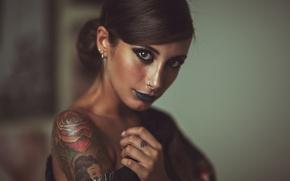 Картинка взгляд, девушка, лицо, стиль, татуировка
