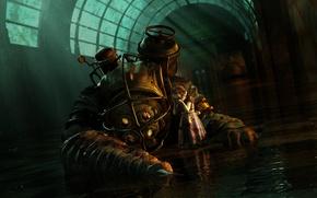 Обои BioShock, Скафандр, Вода, Девочка