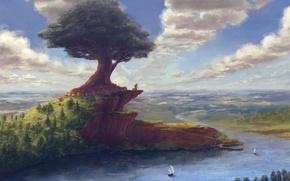 Картинка лес, небо, облака, город, река, дерево, берег, лодка, мельница, древо