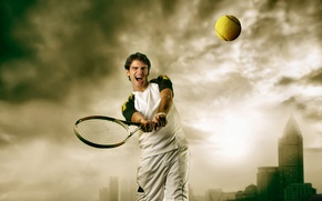 Картинка тучи, город, мяч, ракетка, мужчина, теннис