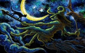 Обои луна, чёрный, ёшка, метле, бабка, кот
