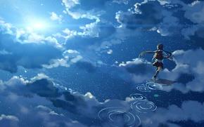 Картинка небо, вода, девушка, солнце, облака, отражение, аниме, арт, форма, школьница, hanyijie
