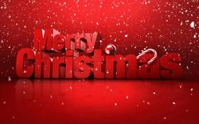Обои Merry Cristmas, снег, поздравление, надпись