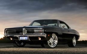 Картинка Черный, Додж, Dodge, Black, Charger, R/T, Muscle Car, Мускул Кар, '1969, Заряд, Комплектация R/T