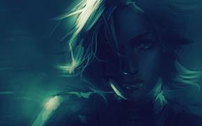 Картинка взгляд, девушка, свет, лицо, фантастика, волосы, арт