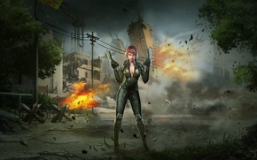 Обои война, арт, взрыв, город, пистолеты, девушка, солдат, special forces