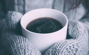 Обои тепло, чашка, варежки, напиток, кофе, горячий
