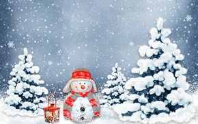 Картинка шарики, снеговик, Новый Год, праздник, снег, зима, украшения, New Year, Christmas, Рождество