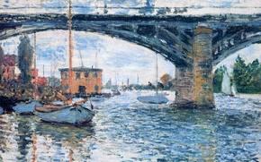 Обои пейзаж, город, лодка, картина, Клод Моне, Мост в Аржантёе. Пасмурно