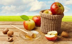 Обои орехи, яблоки, корзина, мед
