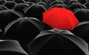 Картинка red, black, umbrella, many