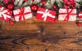 Обои winter, Рождество, шары, bow, Christmas, бант, New Year, елка, красное, gifts, снег, Новый год, snow, ...