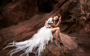 Картинка девушка, камни, платье, ножки, Withered Flower
