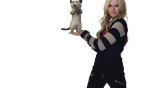 Картинка стиль, актриса, Канада, белый фон, певица, Avril Lavigne, Аврил Лавин, дизайнер, зверёк, монтаж, представление, мультперсонаж