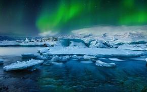 Картинка Frozen, Stars, Aurora, Winter, Lights, Snow, Iceland, Ice, Northern, Lake, Borealis, Jökulsárlón, Glacial