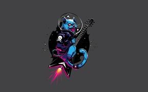 Картинка кот, гитара, минимализм, guitar, cat, реактивный