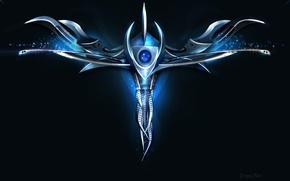 Обои дракон, техно, сердце